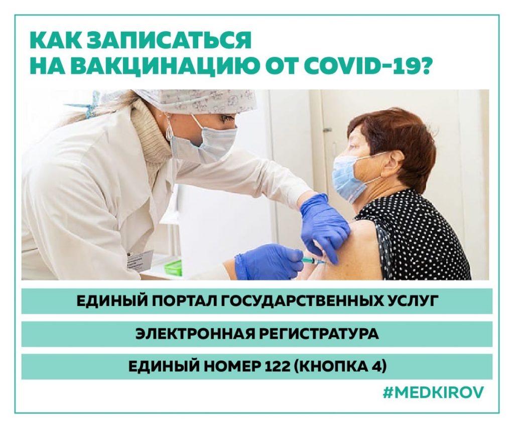 Как записаться на вакцинацию против COVID-19 в Кировской обл.