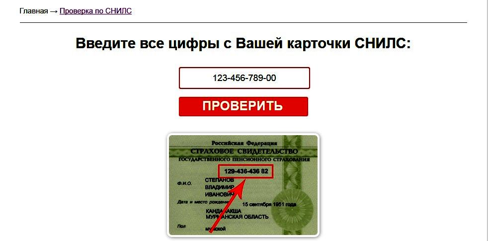 ввести номер страхового номера индивидуального лицевого счета (СНИЛС)